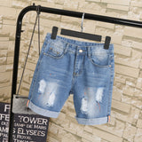 Large size women fat mm summer students denim shorts female 200 pounds plus size five points wide leg harem trousers MZ1573