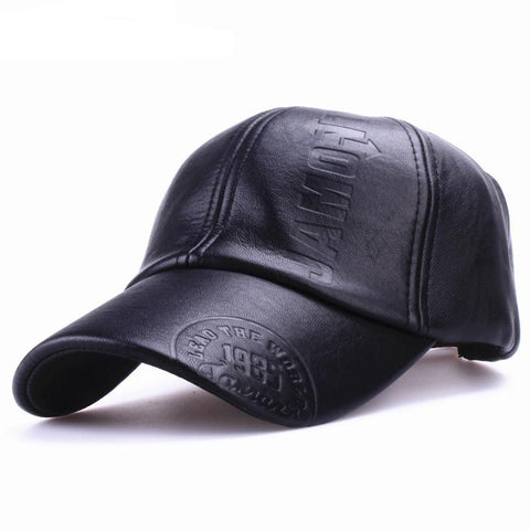 New fashion high quality fall winter men leather hat Cap casual moto snapback hat men's baseball cap wholesale