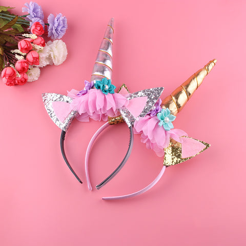 1PC Gold Unicorn Headband Handmade Child Party Horn Gold Glittery Beautiful Headwear Hairband Hair Band Accessories Gold/Silver