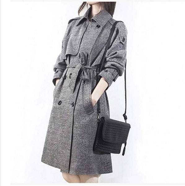 new fall fashion brand long Trench coat women Double breasted Gray plaid coat women loose plus size XXLTrench coat AE435