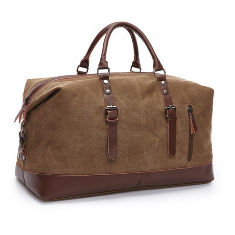 Canvas Leather Men Travel Bags Carry on Luggage Bags Men Duffel Bags Travel Tote Large Weekend Bag Overnight
