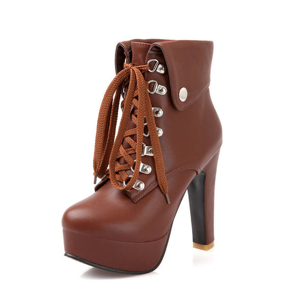 New fashion lace-up women ankle boots high heels black brown autumn winter motorcycle boots platform shoes woman