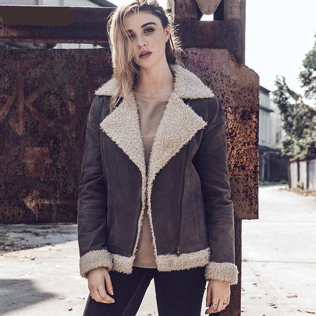 0c41611f6 Women New Winter Fashion Faux Fur Shearling Coat Female Genuine Leather  Jacket Motorcycle Real Leather jacket
