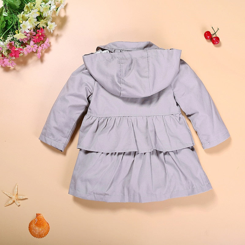 Baby Girls Trench Coats Children Clothes Outfits Kids Hooded Girl's Outerwear Jacket Grey Hoodies Jumpers Overcoat 1-5Year