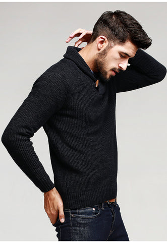 Autumn Mens Sweaters 100% Cotton Knitted Black Color Brand Clothing For Man's Slim Fit Knitwear Male Wear Pullovers 15827