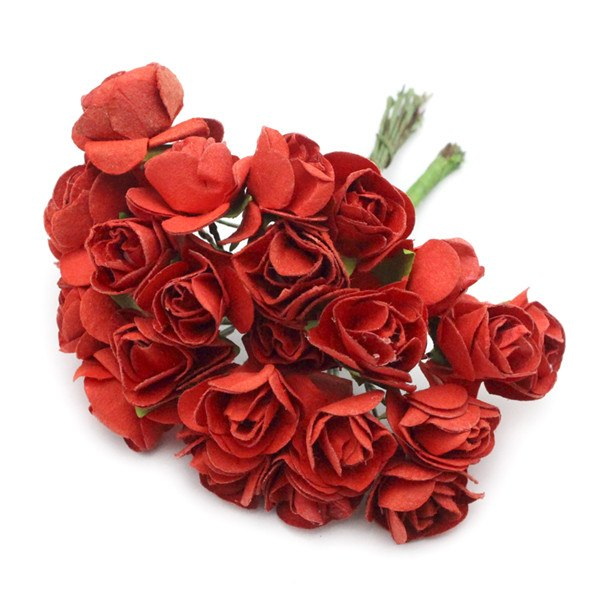 crafts 36pcs/lot Scrapbooking artificial Mulberry Paper Rose Bouquet wire stem wedding flower D027021008
