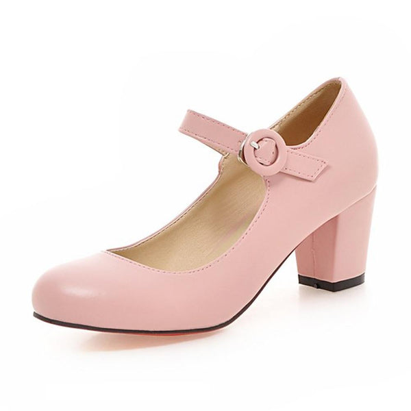 Women Shoes Mary Jane Ladies High Heels White Wedding Shoes Thick Heel Pumps Lady Shoes Black Pink Beige Plus Size 43 10