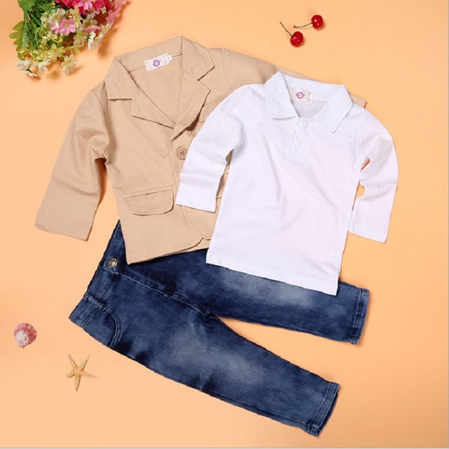 534461bb7c Boys Clothes 3PCS Suits 2 3 4 5 6 7 8 Years Children 3-Pieces Clothing Set  Kids Coat + Polo Shirt + Jean Baby Outfit Jacket Pant