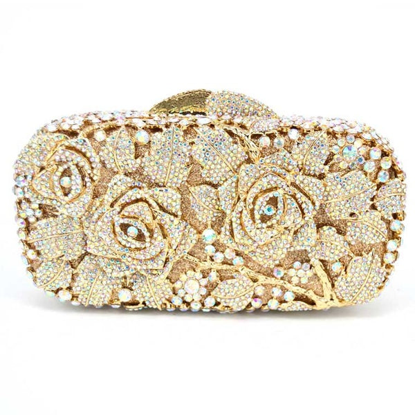 Luxury crystal clutch evening bag Golden rose flower party purse women wedding bridal handbag pouch soiree pochette bag SC013