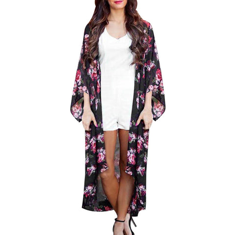 Fashion kimono Style Women Blouse Floral Printed Open Cape Casual Three Quarter Street Wear Long Summer Coat Loose Blusas