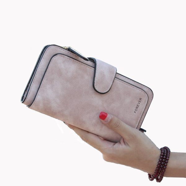 New Brand Leather Women Wallet High Quality Design Hasp Solid Color Card Bags Long Female Purse 4 Colors Ladies Clutch Wallet