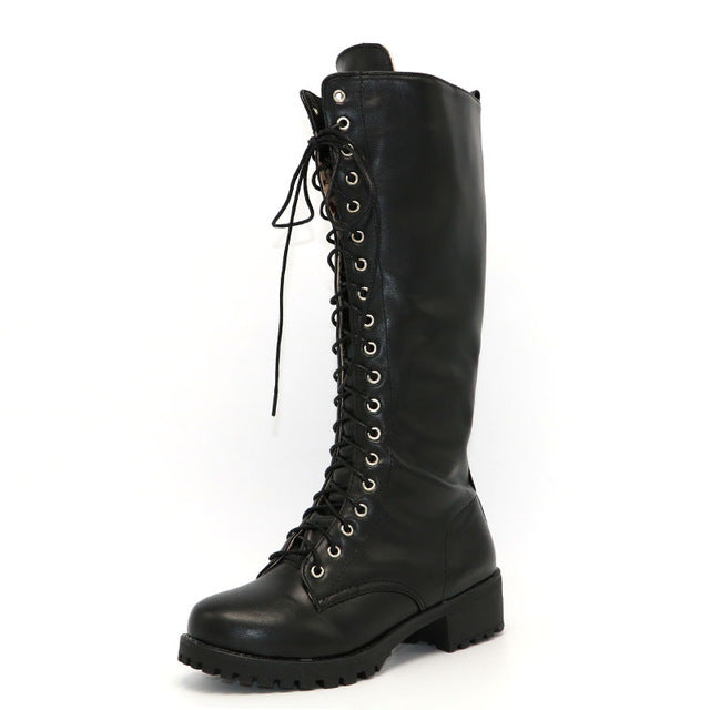 New Designer Womens Square Low Heel Riding Motorcycle Heel Knee High Boots Punk Gothic Platform Lace Up Shoes Size34-43