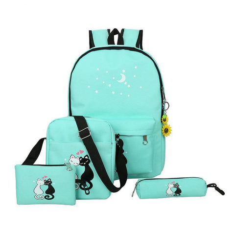 4 Pcs/set Women Backpacks Cute Cat School Bags For Teenage Girls Printing Canvas Backpacks Ladies Shoulder Bags