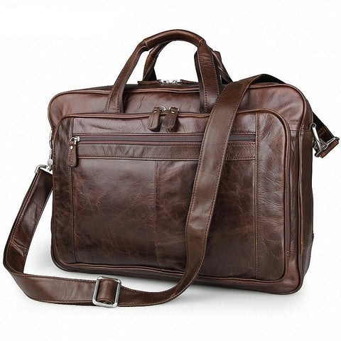Men's Classic Briefcase Genuine Leather Business Office 17 inch Laptop Bag Lawyer Handbag Portfolio Satchel Shoulder bag LI-1266