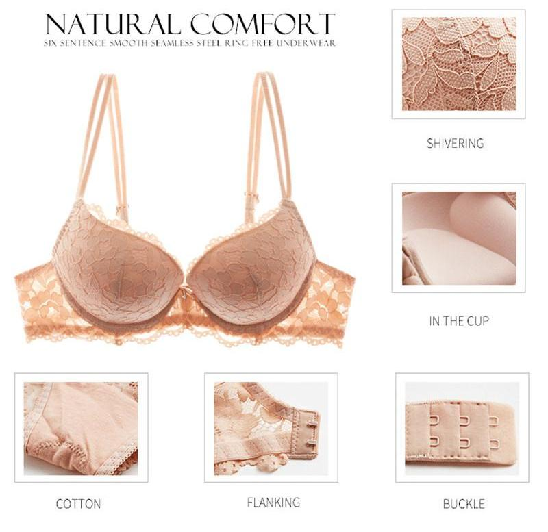 ... Hot Sexy Push Up Bra Set Brand Deep V Brassiere Thick Cotton Women Underwear  Set Lace ... f4a323b66