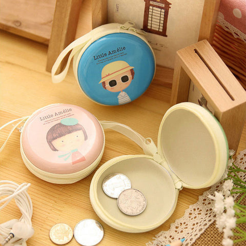 New Cute Girl Print Portable Mini Round Coin Purse Wallet Key Earphone Holder Case Bag Cartoon Zipper Pocket For Kids Girl Women