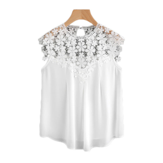 Back Daisy Lace Shoulder Shell Top Summer Blouses for Women 2017 White Cap Sleeve 	Elegant Blouse