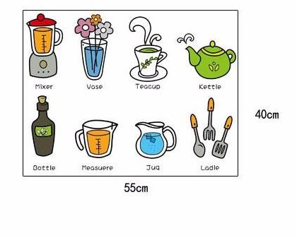 Cartoon Foods Milk Coffe Kitchen Wall Stickers For Refrigerator Fruits PVC Wall Decal Home Decoration Kitchen Supplies Poster