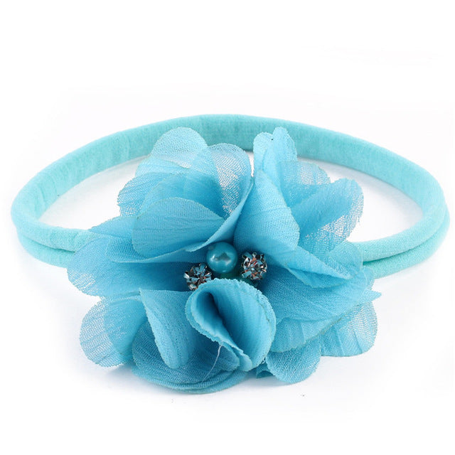chiffon flowers baby girls elastic hair head band accessories for children headband headdress ornaments decoration headwear new