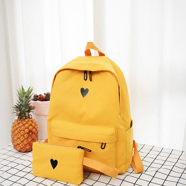 Moon Wood High Quality Canvas Printed Heart Yellow Backpack Style Students Travel Bag Girls School Bag Laptop Backpack
