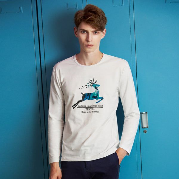 Pioneer Camp New arrival autumn men T-shirt brand clothing deer pattern casual T shirt male top quality stretch Tshirt