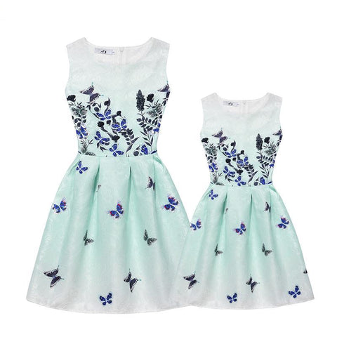 Mother Daughter Summer Dress Mommy and Me Clothes Matching Mother Daughter Dresses Girls 2017 New Casual Children Clothing