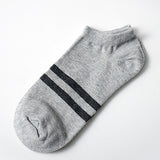 5pairs=10pcs/lot Solid Color Socks Cotton Men Fashion Double Stripes Boat Socks Summer Male Casual Breathable Socks Boy New