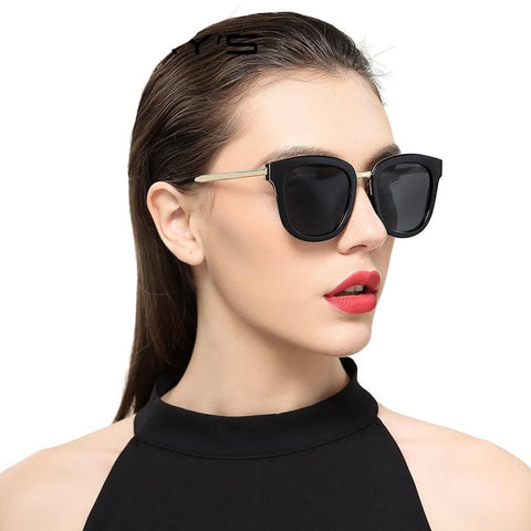 Women Classic Cat Eye Polarized Sunglasses Fashion Sun Glasses Metal Temple 100% UV Protection S'6082