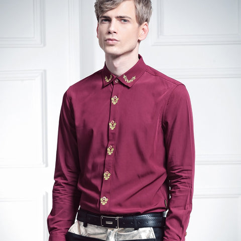 Free Shipping New Man's male party autumn fashion casual long-sleeve slim Embroidery red 512012 shirt 5XL Bamboo fiber