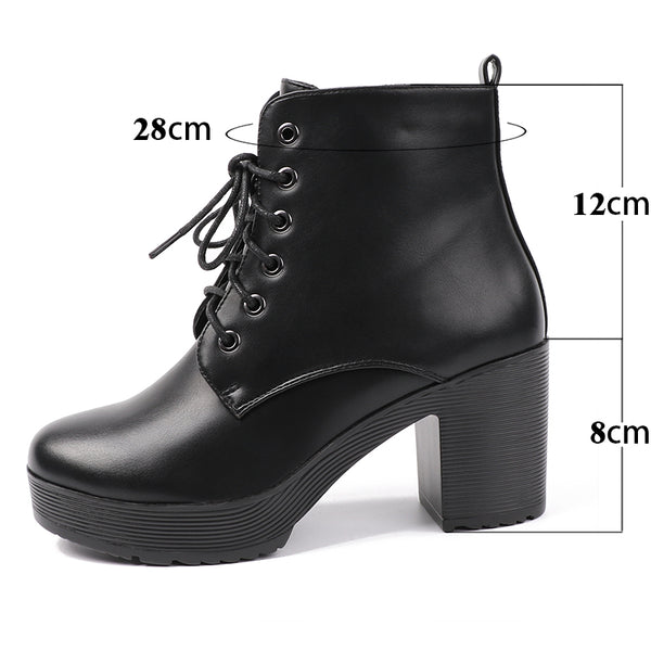 Platform Heels Women Ankle Boots Soft Leather Thick high Heel Platform Boots Winter Autumn Boots Warm Fur Big Size