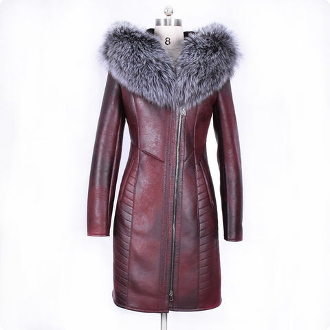 Winter Fashion Womens Real Fur Collar Jacket Warm Coat Female Slim Fit Long Sleeve Brand High Quality Ladys Clothing Plus Size