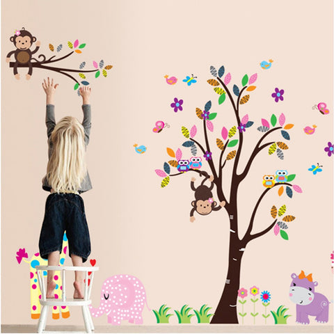 Free shipping Hot-Selling PVC Removable Children Room Animal Monkey & Trees Wall sticker For Kids Bedroom Art Wall Decor