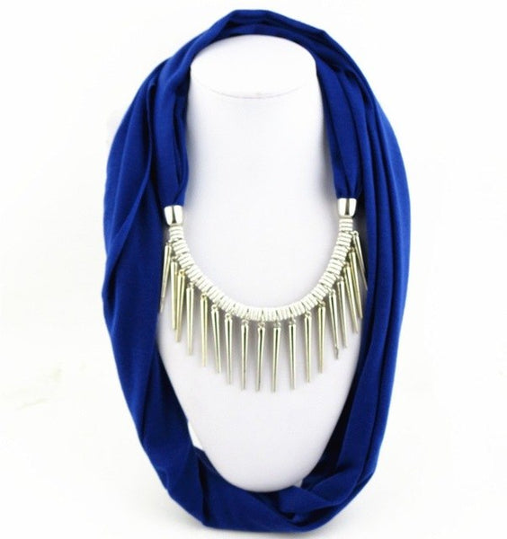 New Arrival Women Fashion Garment Accessory Punk Style Rivet Pendant Necklace Scarf Jewelry Charms Scarves Solid Color
