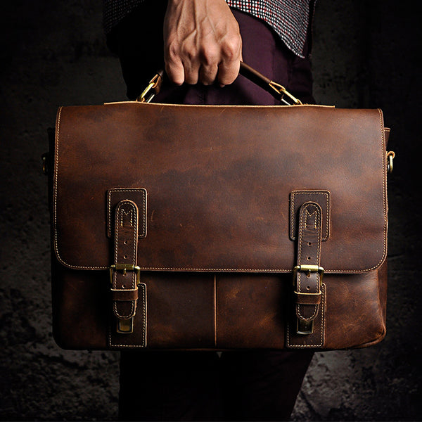 Mens Genuine crazy horse  Leather Antique Style Briefcases Business Cases Attache Messenger Bags Tote New 8069