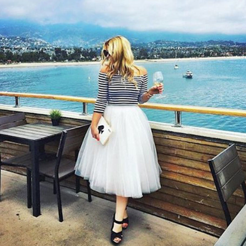 7 Layers Midi Tulle Skirts Womens Fashion Pleated Skirt Elegant Wedding Vintage Lolita Petticoat faldas mujer saias Jupe