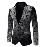 Men's autumn winter Male flower suit slim casual print blazer single stage show jacket coat outerwear Plus size 5XL