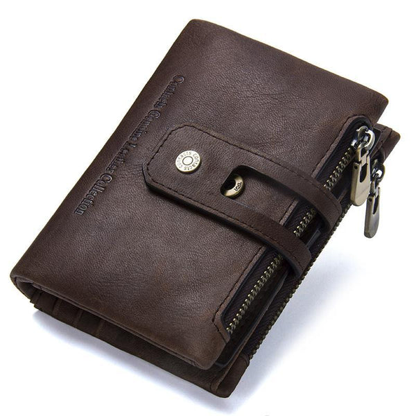Autumn New Arrival Genuine Leather Men's Wallet For Men Small Zipper Organizer Wallets Cash Carteira For Rfid