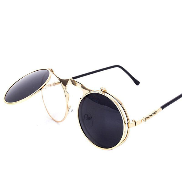 New Fashion VINTAGE Round STEAMPUNK Flip Up Sunglasses Steam Punk Clamshell Design Retro Sun Glasses Oculos De Sol