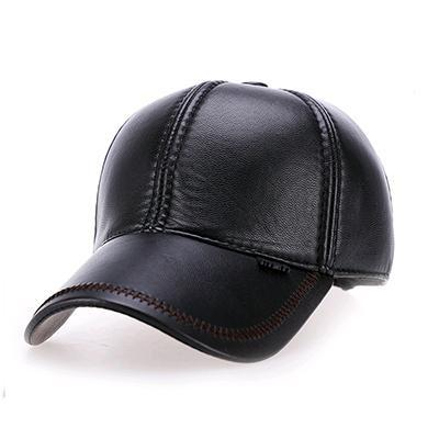 Fashion Leather Baseball Cap Men Thicken Fall Winter Hats with Ears 6 Panel Keep Warm Leather Cap Male Hats Bone casquette