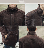 Winter Men's Genuine Leather Jacket male Overcoat  warm Coat padding cotton Real Leather Jacket