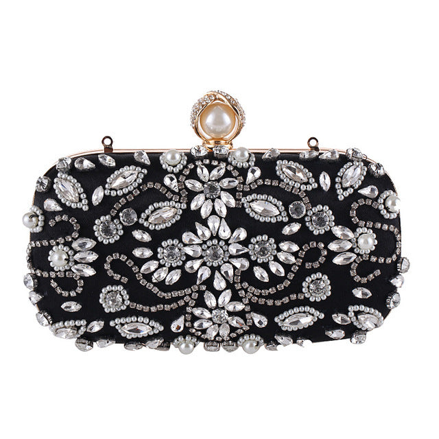 8565914634 ... Luxury Clutch Purse Women Crystal Diamond Evening Bags White Pearl  Beaded Shoulder Party Bag Bridal Wedding ...