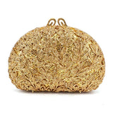 Newest Flower Evening Crystal Bag Golden Stones rhinestone Clutch Evening Bag Female Party Purse Wedding Clutch Bag