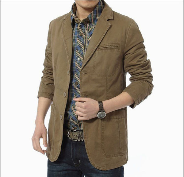 New Autumn Casual Blazers Men Cotton Denim Casual Suits Jackets Military Army Green Khaki  Big Size M -XXXXL A0287