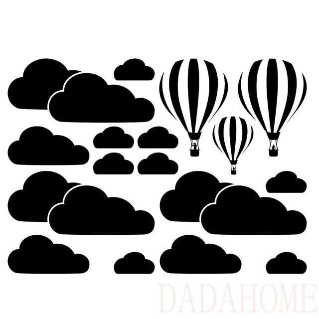 New White Clouds Hot Air Balloon Wall Sticker For Kids Rooms Art Background Wall Stickers Home Decor Living Room Mural Decals