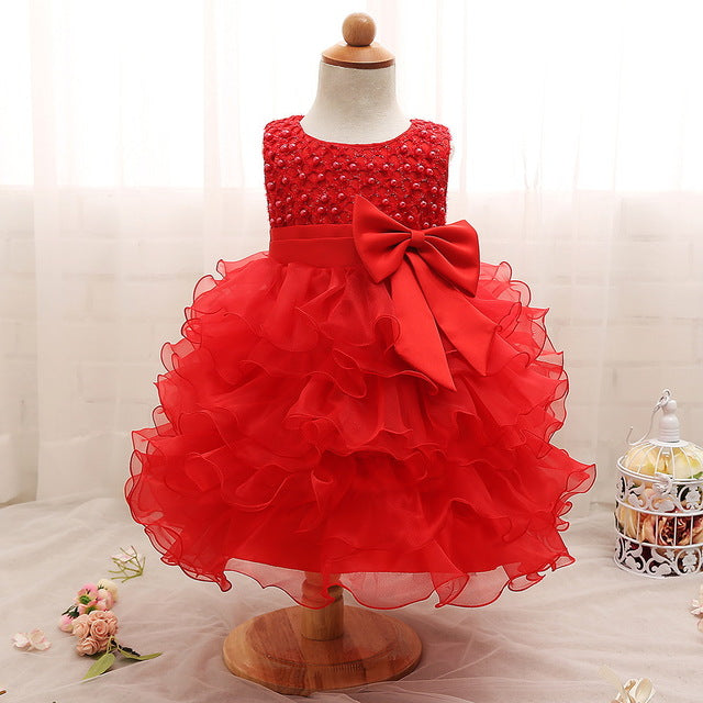 Babe Newborn Baby Girls Dresses Beads Bow Kids Christening Gowns 0 2