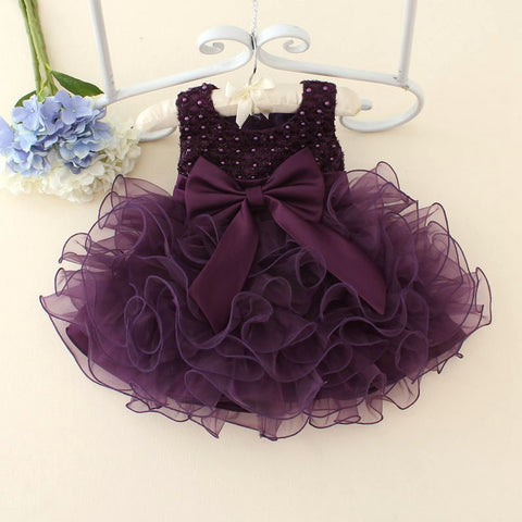 Babe Newborn Baby Girls Dresses Beads Bow Kids Christening Gowns 0-2 Years Birthday Dress Vestido Infantil Princess Outfits