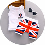 Baby Boy Clothes Summer High quality cotton baby clothing set 2pc for 1 2 3 years old boys vest suit A021-108