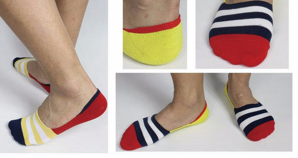 Free Shipping 12pairs/lot men's invisible bamboo fiber cotton Socks stripe boat anti slip high qualtiy summer slipper big size
