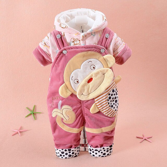 Flannel Baby Clothes Baby Monkey Soft Flannel Long sleeve Hooded Coat+Overalls 2pcs  Clothing For Newborns Boys Toddler Cloth