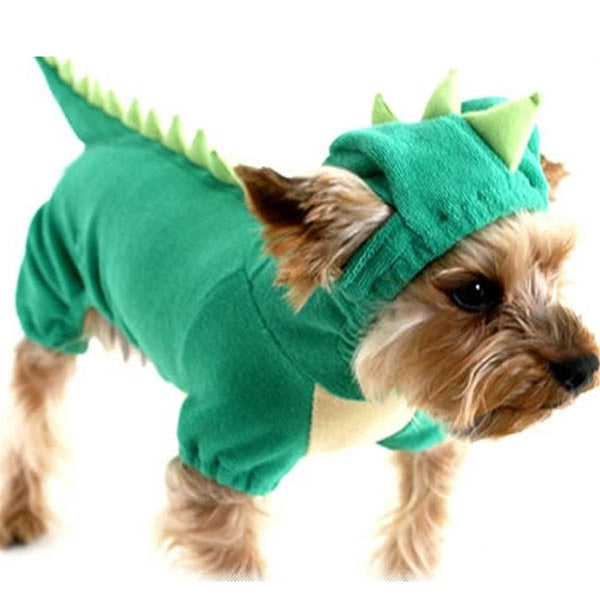 Pet Transfiguration Dogs Clothing Four-legged Dinosaur Dog Jackets Halloween Costume  Pet Dogs Green Coat Outfits